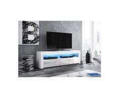 Vivaldi meuble tv - mex - 160 cm - blanc mat / blanc brillant avec led - style moderne