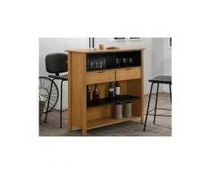 Meuble de bar liverpool - pin & métal - coloris : chêne et noir
