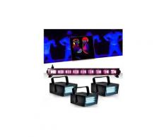 Réglette barre néon lumière noire 9x3wfluo black light halloween + 3 mini ledstrobe led