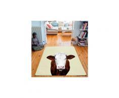 Tapis rectangulaire velours antidérapant imprimé animaux mrs cow - 135 x 200 cm