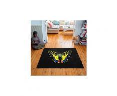 Tapis carré velours antidérapant imprimé papillons tiger butterfly - 135 x 135 cm
