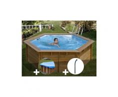Kit piscine bois sunbay vanille premium ø 4,12 x 1,19 m + bâche hiver + douche
