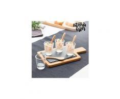 Ustensiles pour tapas avec plateau en ardoise (9 pièces) - 4 cuillères en bois, 4 verres de dégustation et un plateau