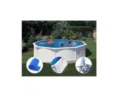 Kit piscine acier blanc gré fidji ronde 4,80 x 1,22 m + bâche à bulles + tapis de sol + kit d'entretien