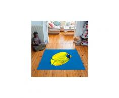 Tapis carré velours antidérapant imprimé poissons yellow fish - 135 x 135 cm