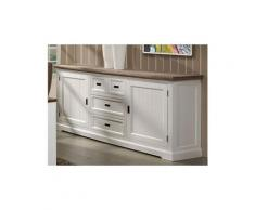 Grand buffet enfilade contemporain bois massif couleur blanc estelle