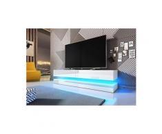 Vivaldi meuble tv - fly - 140 cm - blanc mat / blanc brillant avec led - style moderne