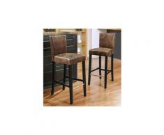Icaverne tabouret de bar elvis lot de 2 tabourets de bar - tissu marron vintage - contemporain - l 39 x p 49,5 cm
