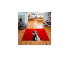 Tapis carré velours antidérapant imprimé animaux camden parrot - 135 x 135 cm