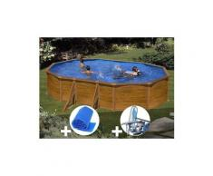 Kit piscine acier aspect bois gré sicilia ovale 5,27 x 3,27 x 1,22 m + bâche à bulles + kit d'entretien