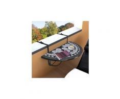 Icaverne - tables de jardin moderne table suspendue de balcon noir et blanc mosaïque