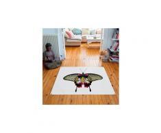 Tapis carré velours antidérapant imprimé papillons pink butterfly - 135 x 135 cm