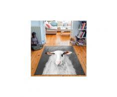 Tapis rectangulaire velours antidérapant imprimé animaux mr felix - 135 x 200 cm