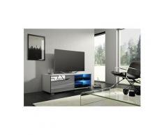 Vivaldi meuble tv - moon 2 - 100 cm - blanc mat / gris brillant avec led - style moderne