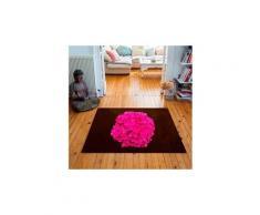 Tapis carré velours antidérapant imprimé floraux hortensia - 135 x 135 cm