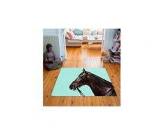 Tapis carré velours antidérapant imprimé animaux racer - 135 x 135 cm