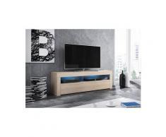Vivaldi meuble tv - mex - 160 cm - chêne sonoma clair avec led - style moderne