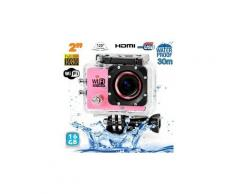 Camera embarquée sports wi-fi lcd caisson étanche waterproof hd 12 mp rose 16go - yonis