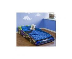 Lit enfant voiture de course enfant bleu, en bois MDF - Dim : H 35.5 x L 94 x P 211.5 cm