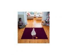 Tapis carré velours antidérapant imprimé animaux dancing seagul - 135 x 135 cm
