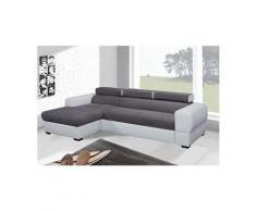 Tresor canapé d'angle convertible gauche - blanc / gris