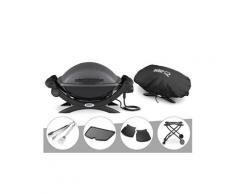 Barbecue électrique weber q 1400 + housse + kit ustensile + plancha + plan travail + chariot