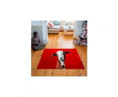 Tapis carré velours antidérapant imprimé animaux funny goat - 135 x 135 cm