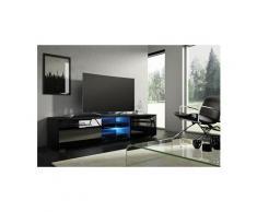 Vivaldi meuble tv - moon - 140 cm - noir mat / noir brillant avec led - style moderne