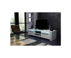 Vivaldi meuble tv - manhattan 2 - 160 cm - blanc mat / blanc brillant avec led - style moderne