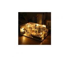 Maison miniature bricolage 3d en bois meubles led maison puzzle décorez cadeaux creative jouets éducatifs chaingzi 1493