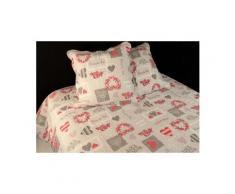 Couvre-lit boutis matelassé 260x240 cm c'est la vie avec 2 taies d'oreiller