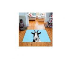 Tapis carré velours antidérapant imprimé animaux baby goat - 135 x 135 cm