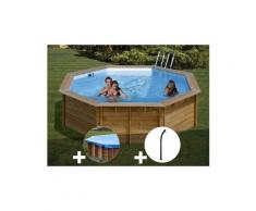 Kit piscine bois sunbay violette ø 5,11 x 1,24 m + bâche hiver + douche