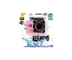 Camera embarquée sports wi-fi lcd caisson étanche waterproof 12 mp full hd rose - yonis