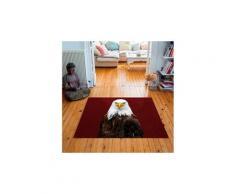 Tapis carré velours antidérapant imprimé animaux mr. Eagle - 135 x 135 cm
