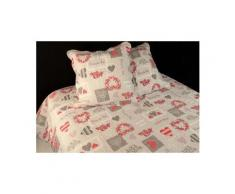 Couvre-lit boutis matelassé 220x240 cm c'est la vie avec 2 taies d'oreiller