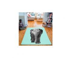 Tapis rectangulaire velours antidérapant imprimé animaux elephant - 135 x 200 cm