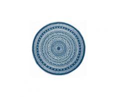 "Tapis de salon rond ""mandaly"" 150cm bleu"
