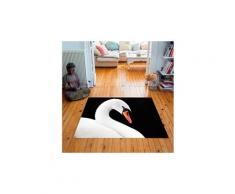 Tapis carré velours antidérapant imprimé animaux swan ii - 135 x 135 cm