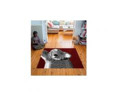 Tapis carré velours antidérapant imprimé animaux chouki - 135 x 135 cm