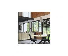 Salle à manger industrielle couleur bois et effet béton jeffrey