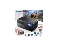Excelvan hdp300 projecteur vidéo android dlp batterie intégrée 7.4v/3500mah 25.9wh support 1080p android 5.1 pour le home entertainment eu noir