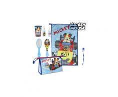 Trousse de toilette bleu ciel avec accessoires mickey (7 pcs) - brosse, serviette, verre