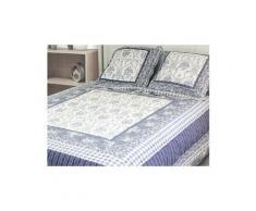 Couvre-lit boutis matelassé 220x240 cm odile avec 2 taies d'oreiller