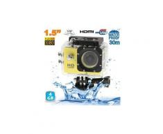 Camera embarquée sport lcd caisson étanche waterproof full hd 1080p jaune 4 go - yonis