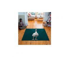 Tapis carré velours antidérapant imprimé animaux martine - 135 x 135 cm