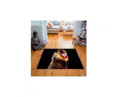 Tapis carré velours antidérapant imprimé animaux bobo - 135 x 135 cm