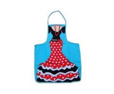 Tablier de cuisine avec poche flamenca style robe flamenco 100% coton secaneta espagne