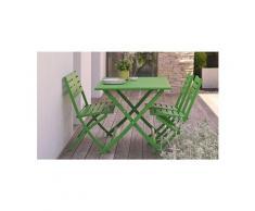 Salon jardin vert avec banc 4 places marius