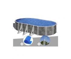 Kit piscine acier aspect pierre gré córcega ovale 7,44 x 3,99 x 1,32 m + bâche à bulles + douche